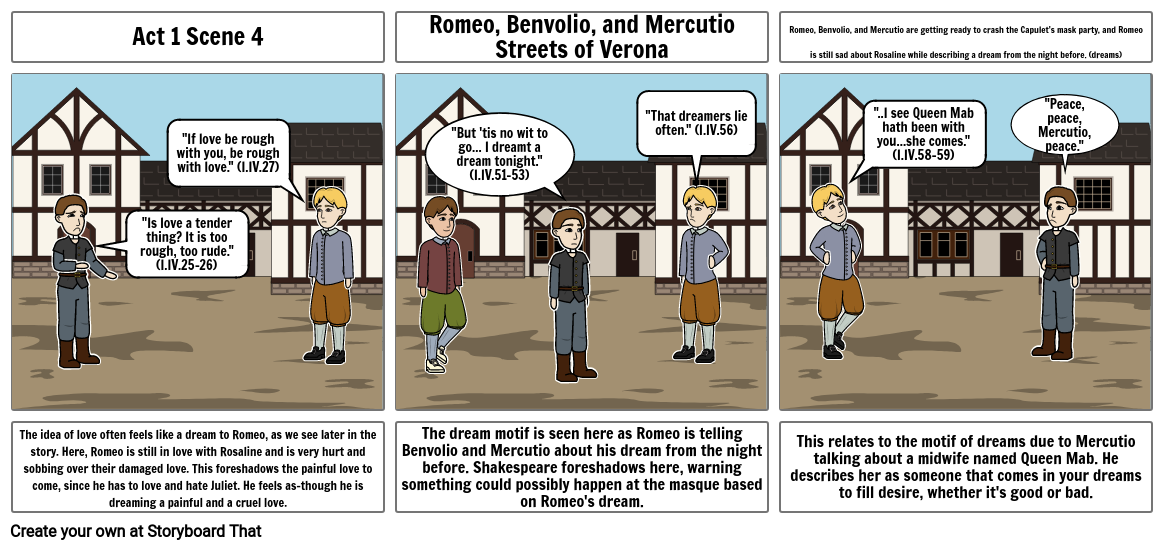 English 9 Romeo and Juliet Dream Motif Storyboard