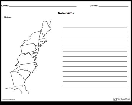 13 Koloniju Karte - ar Līnijām