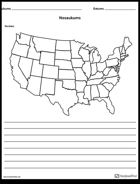 Amerikas Savienoto Valstu Karte - ar Līnijām
