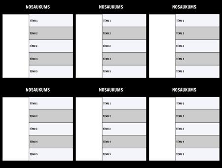 Rakstzīmju karte 5-Field Template