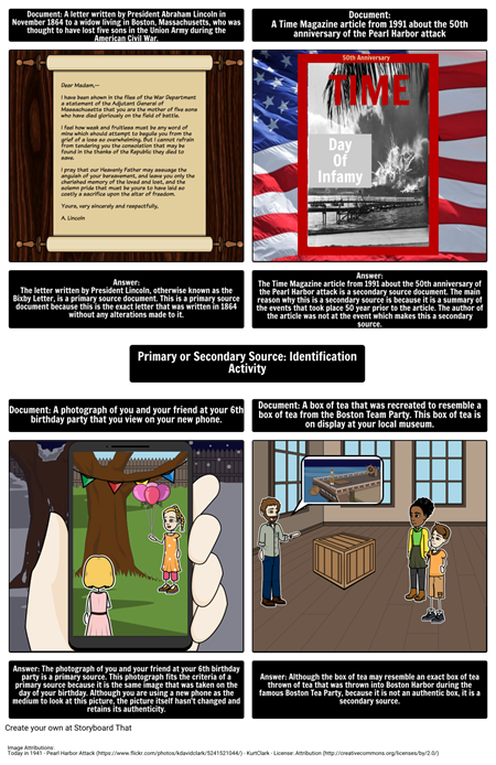 Primary and Secondary Source: Identification Activity