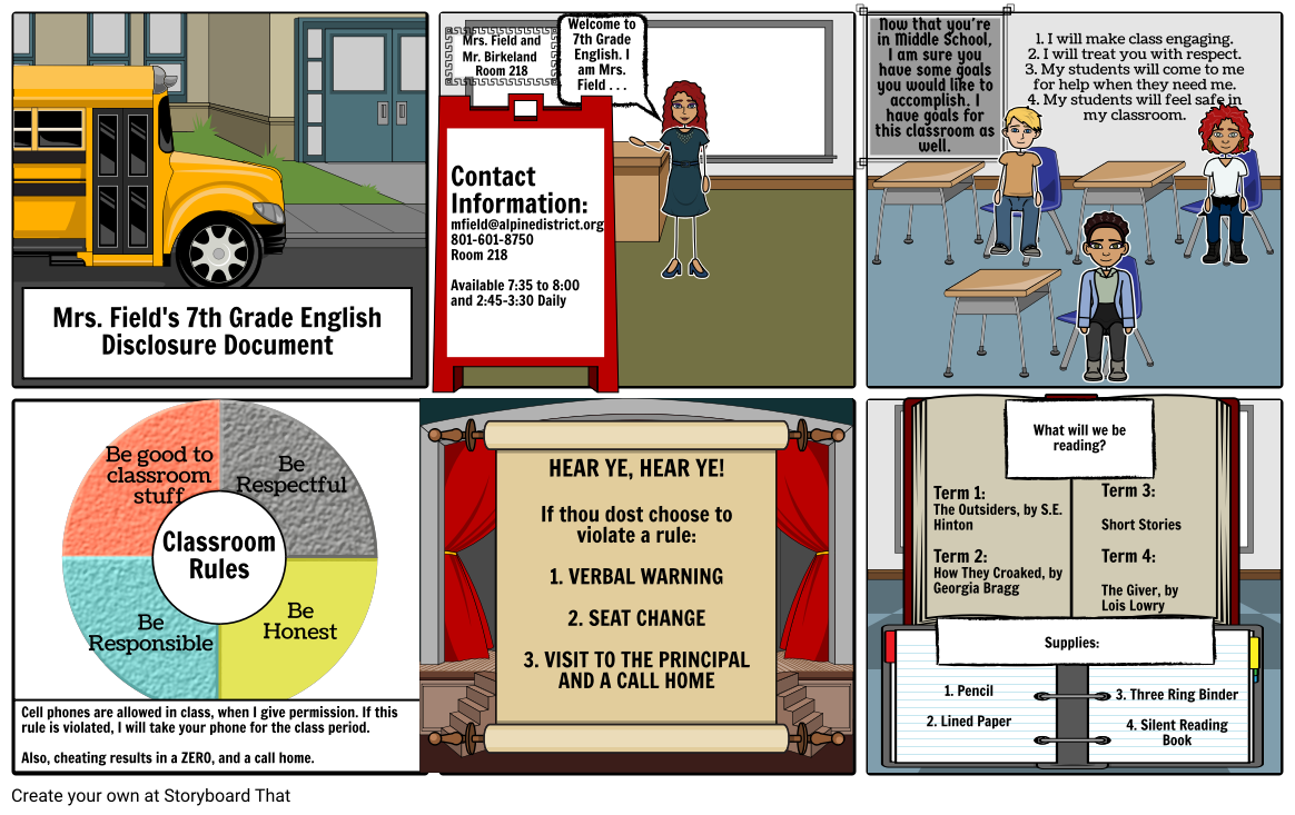 7th Grade English Disclosure Document Storyboard