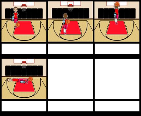A rainbow basketball dunk