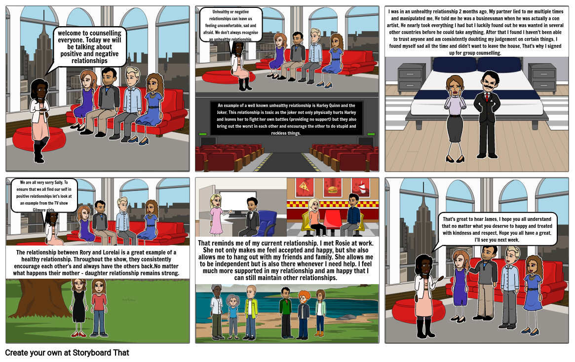 PDHPE - positive and negative relationships story board