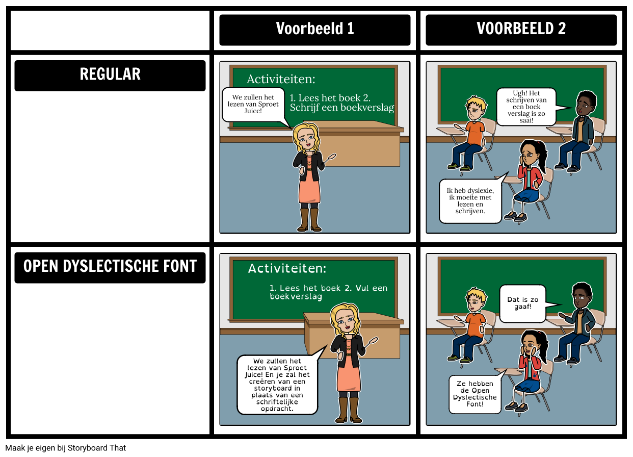 Open Dyslectische Font Storyboards