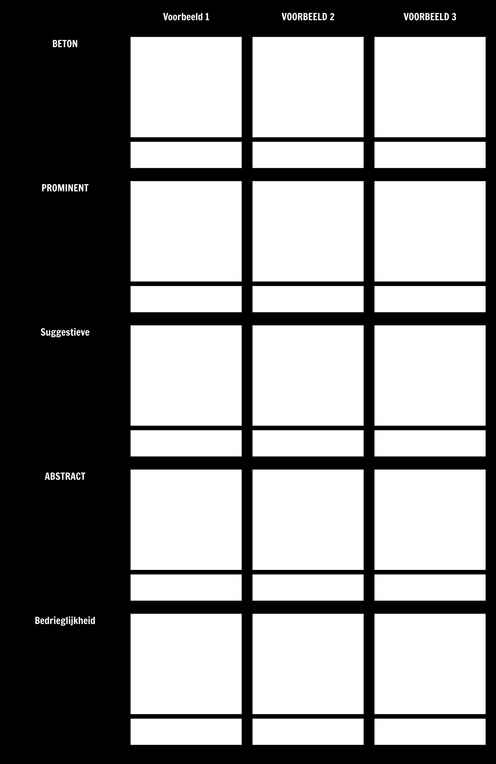Soorten Voorafschaduwing - Werkblad / Template 2