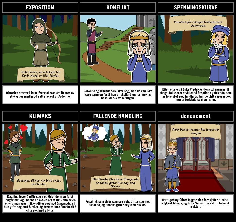 Som du Liker det Plot Diagram Storyboard by no-examples