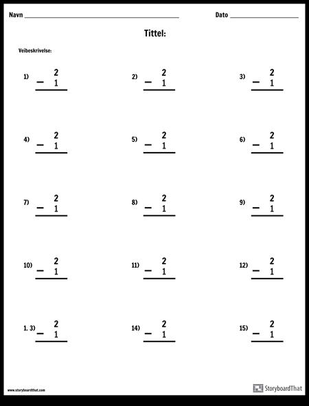 Subtraksjon - Enkelt Nummer - Versjon 2