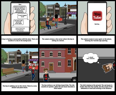 Distracted Walking PSA Storyboard