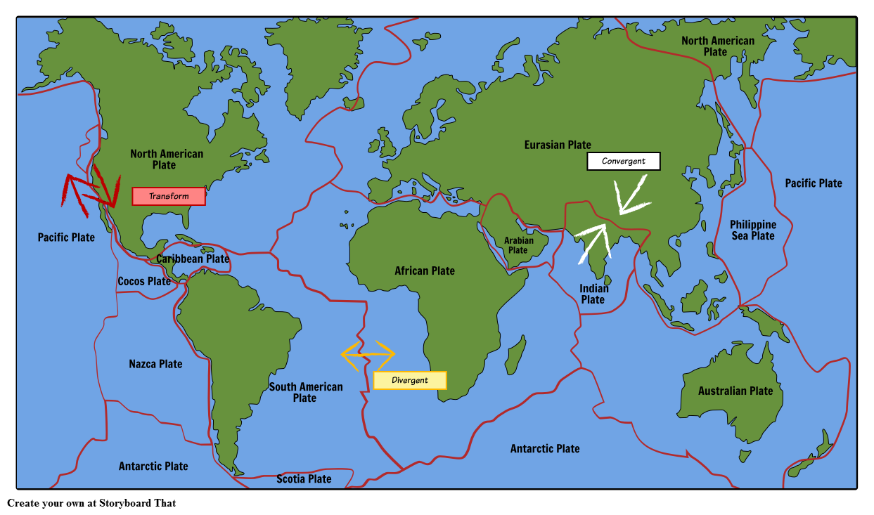Tectonic Plates Map Tectonic Plate Map Storyboard by oliversmith Tectonic Plates Map