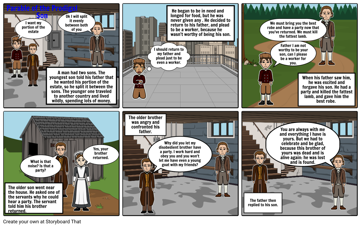parable os the prodigal son Storyboard by oliviaford