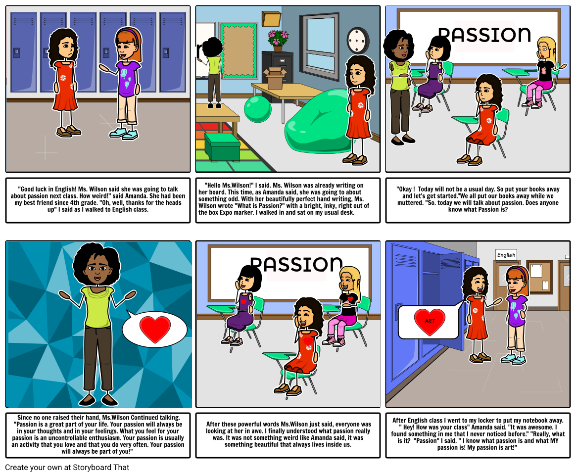 MS Comic Strip-Whats your Passion?-6th grade