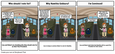 SGA Storyboard (Why should I vote for Namitha?)