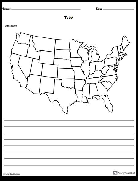 Mapa Stanów Zjednoczonych - z Liniami