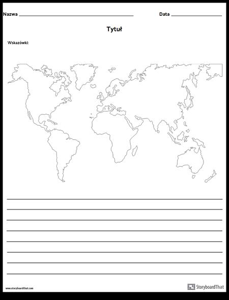Mapa Świata - z Liniami