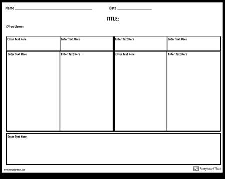 Notatki czterech kolumn z obszarem podsumowania