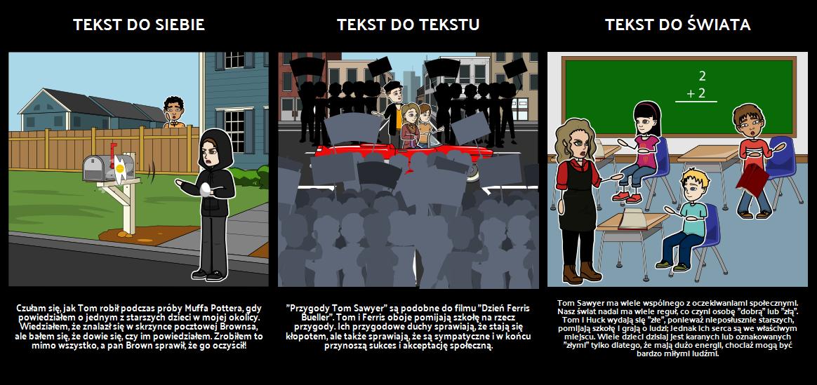 Przygody Tom Sawyer Połączenia Tekstowe