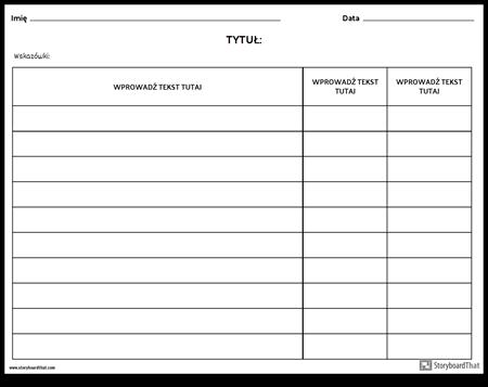 Rubryka - Tabela