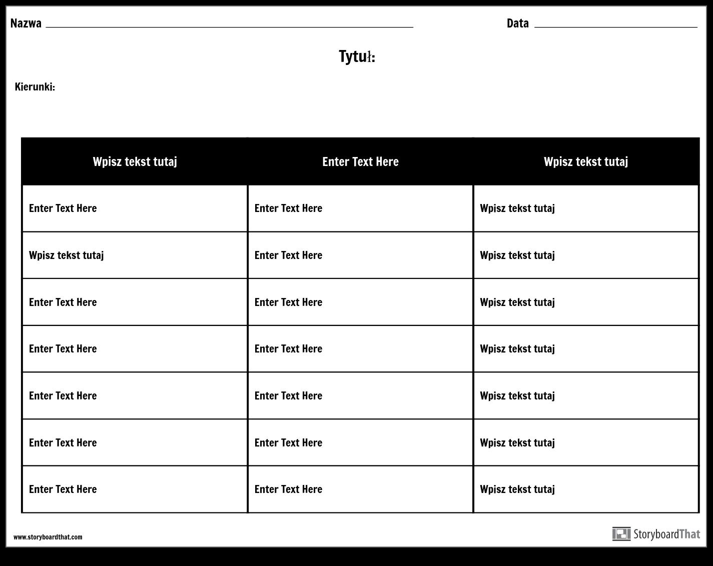 Tabela - 3 Kolumny, 7 Rzędów