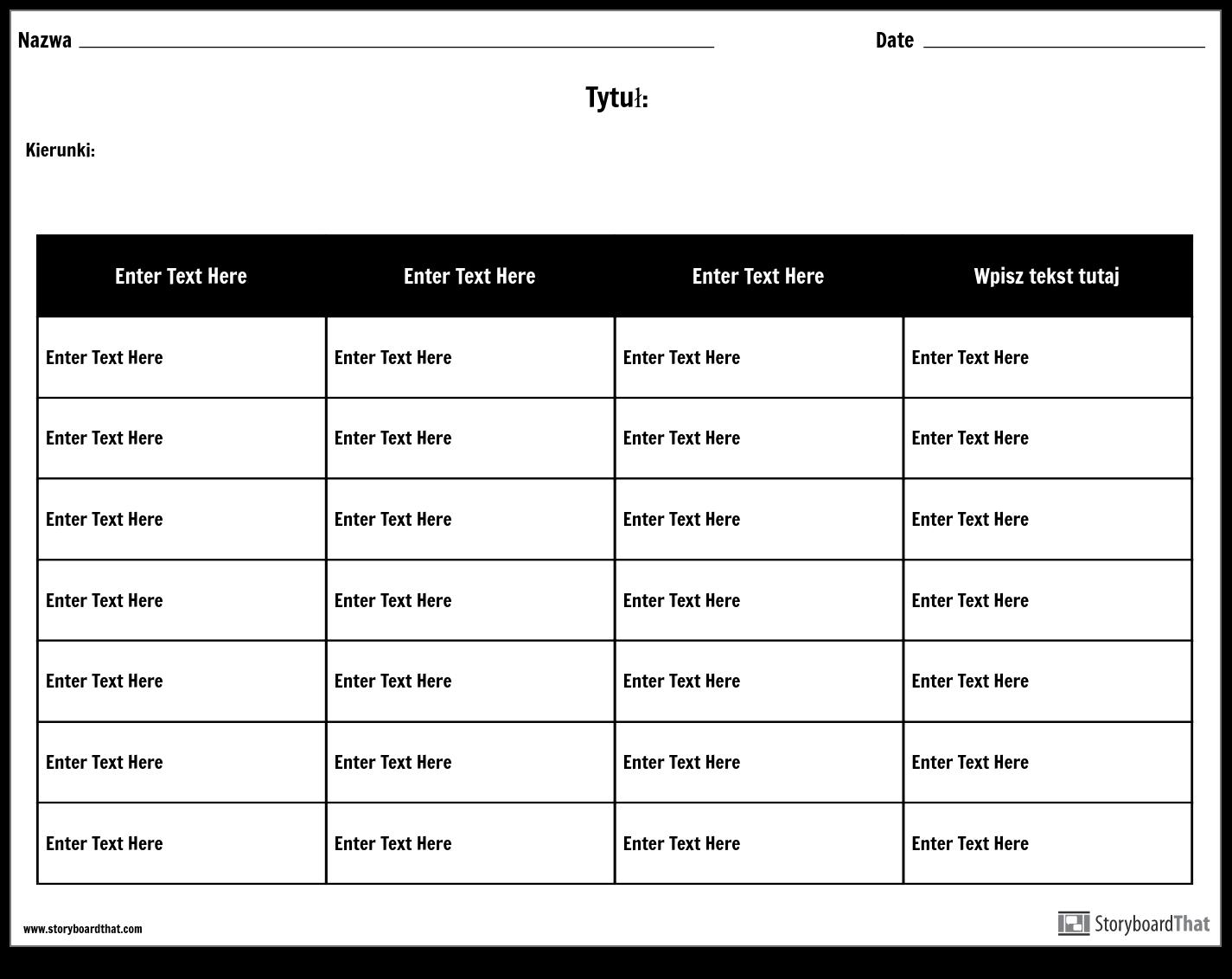 Tabela - 4 Kolumny, 7 Rzędów