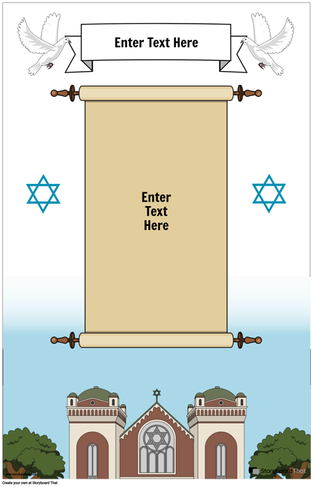 Jewish Poster with Scroll