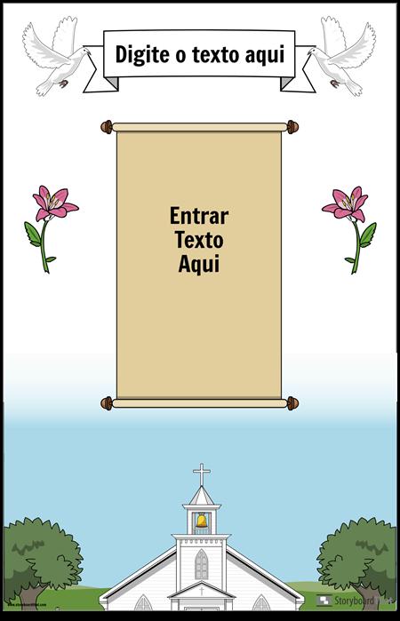 Cartaz cristão com pergaminho