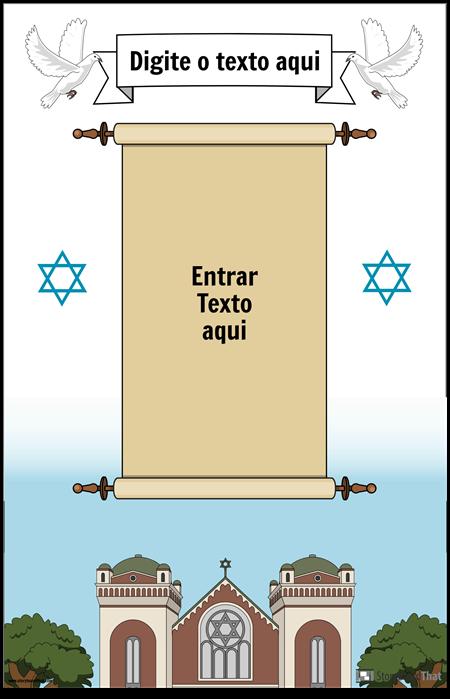 Cartaz judaico com rolagem