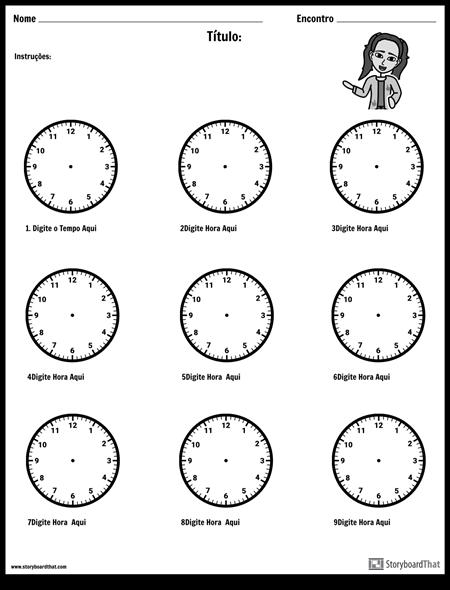 Desenhe as Mãos no Relógio