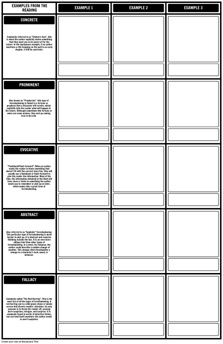 Types of Foreshadowing - Worksheet/Template 2