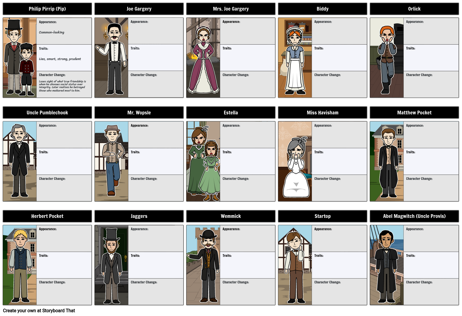 great expectations summary characters activities great expectations character map