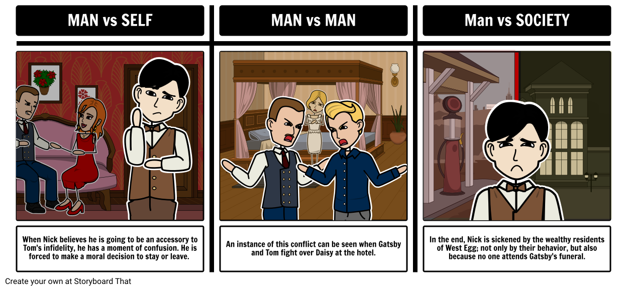 The Great Gatsby - Conflict Storyboard by rebeccaray