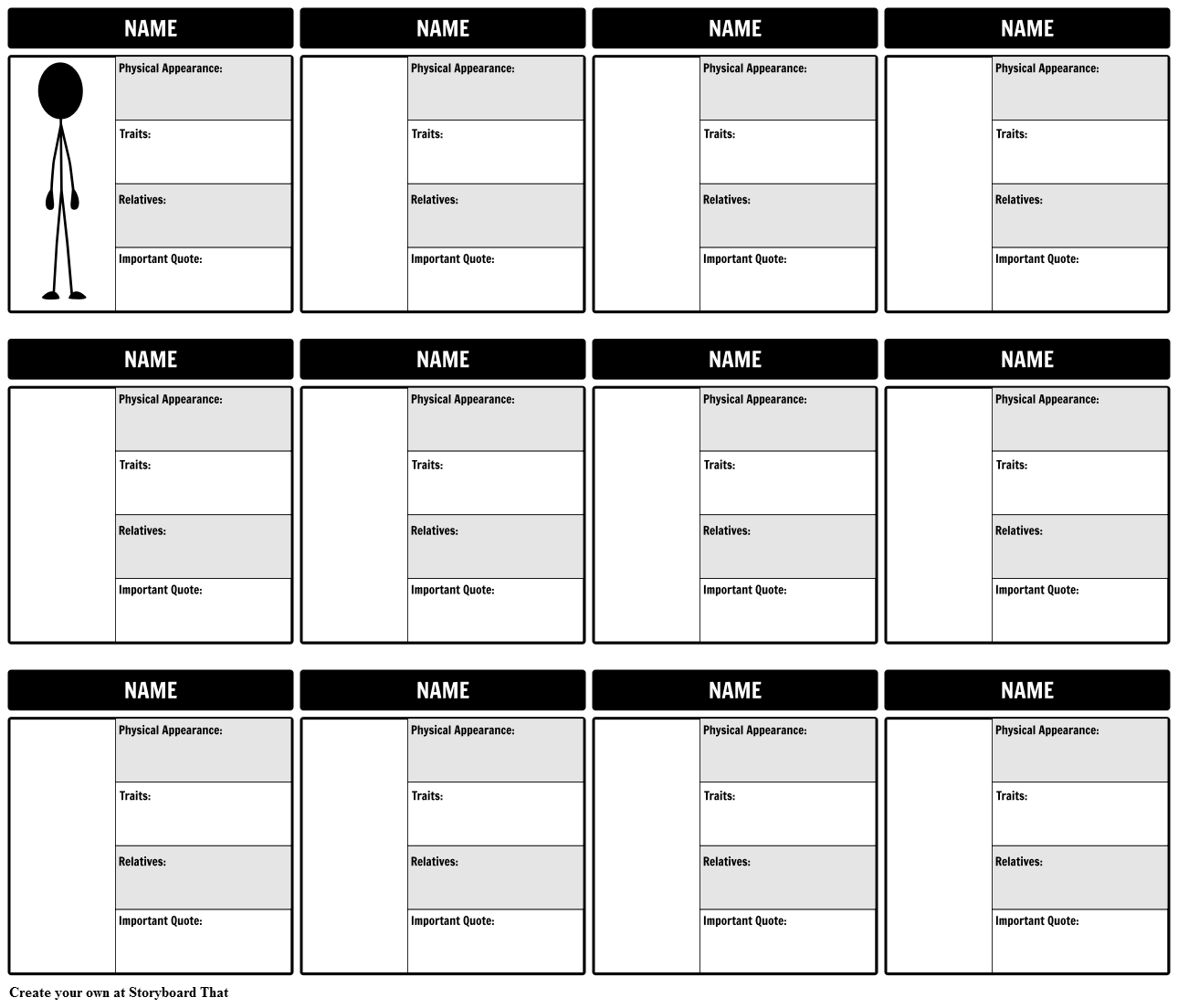 Website Storyboard Examples: Character Map Template Storyboard By Rebeccaray