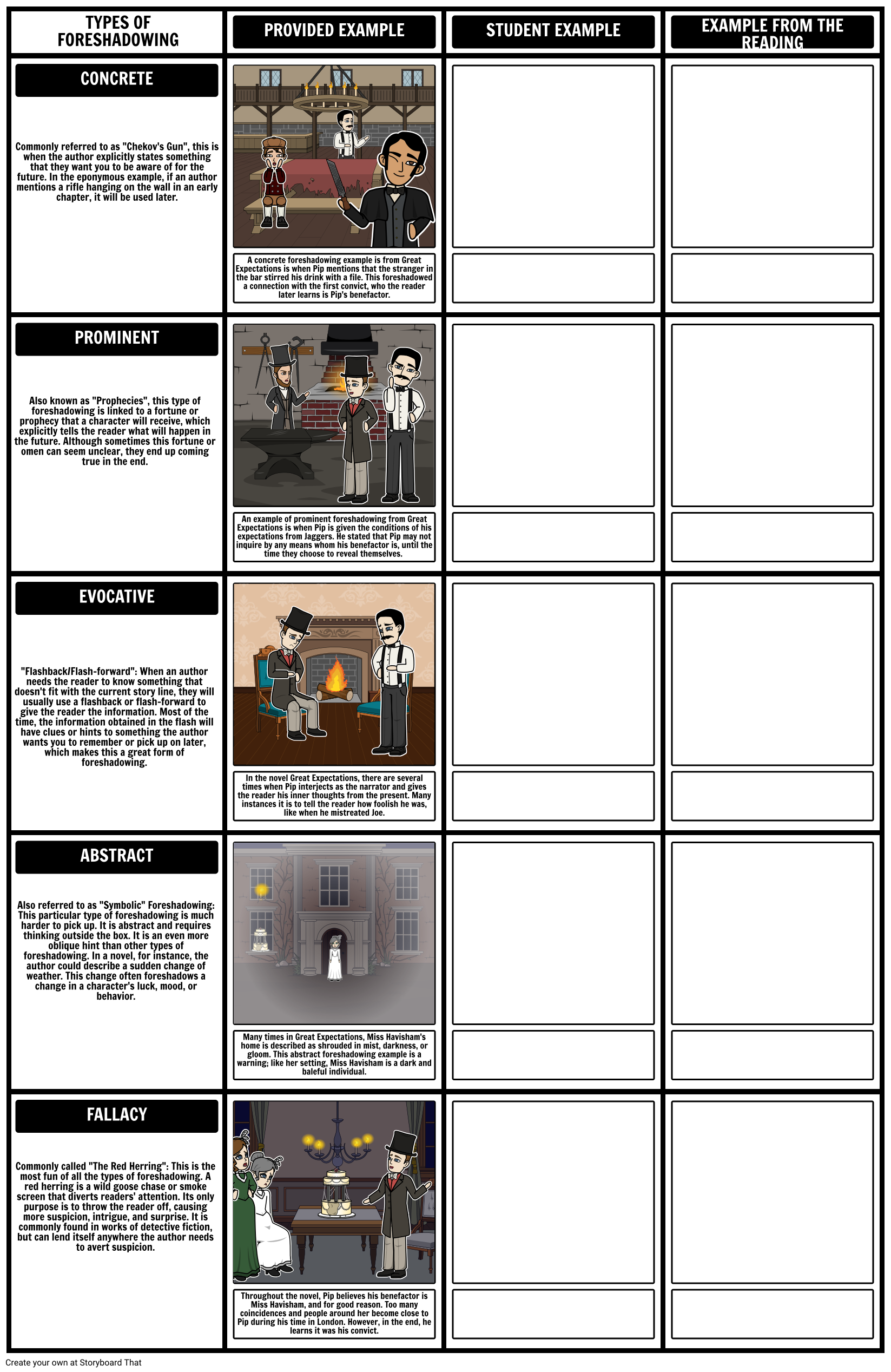 Foreshadowing Examples Types Of Foreshadowing Worksheet