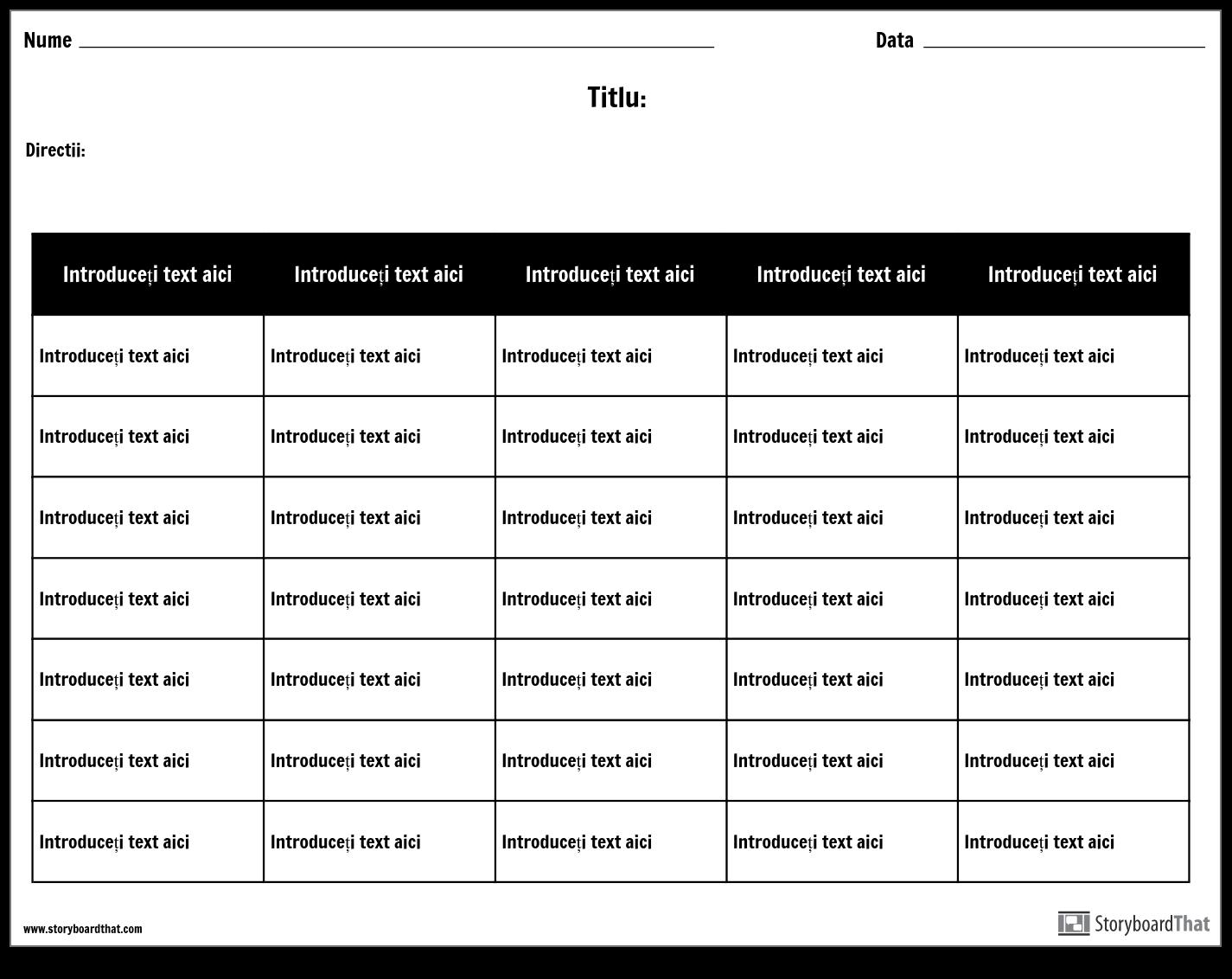 Tabel - 5 Coloane, 7 Rânduri