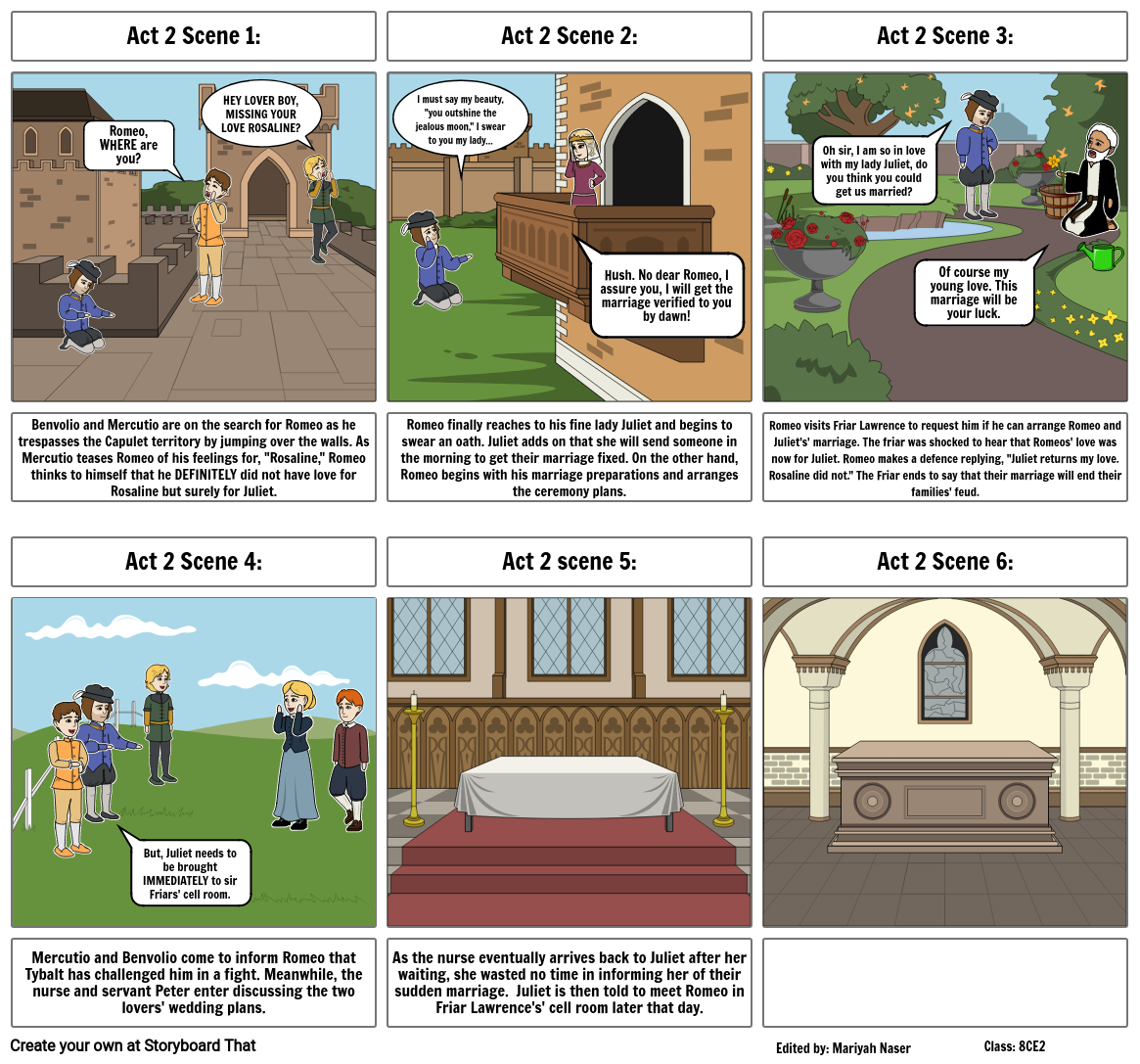 Romeo and Juliet freeze frame storyboard plan