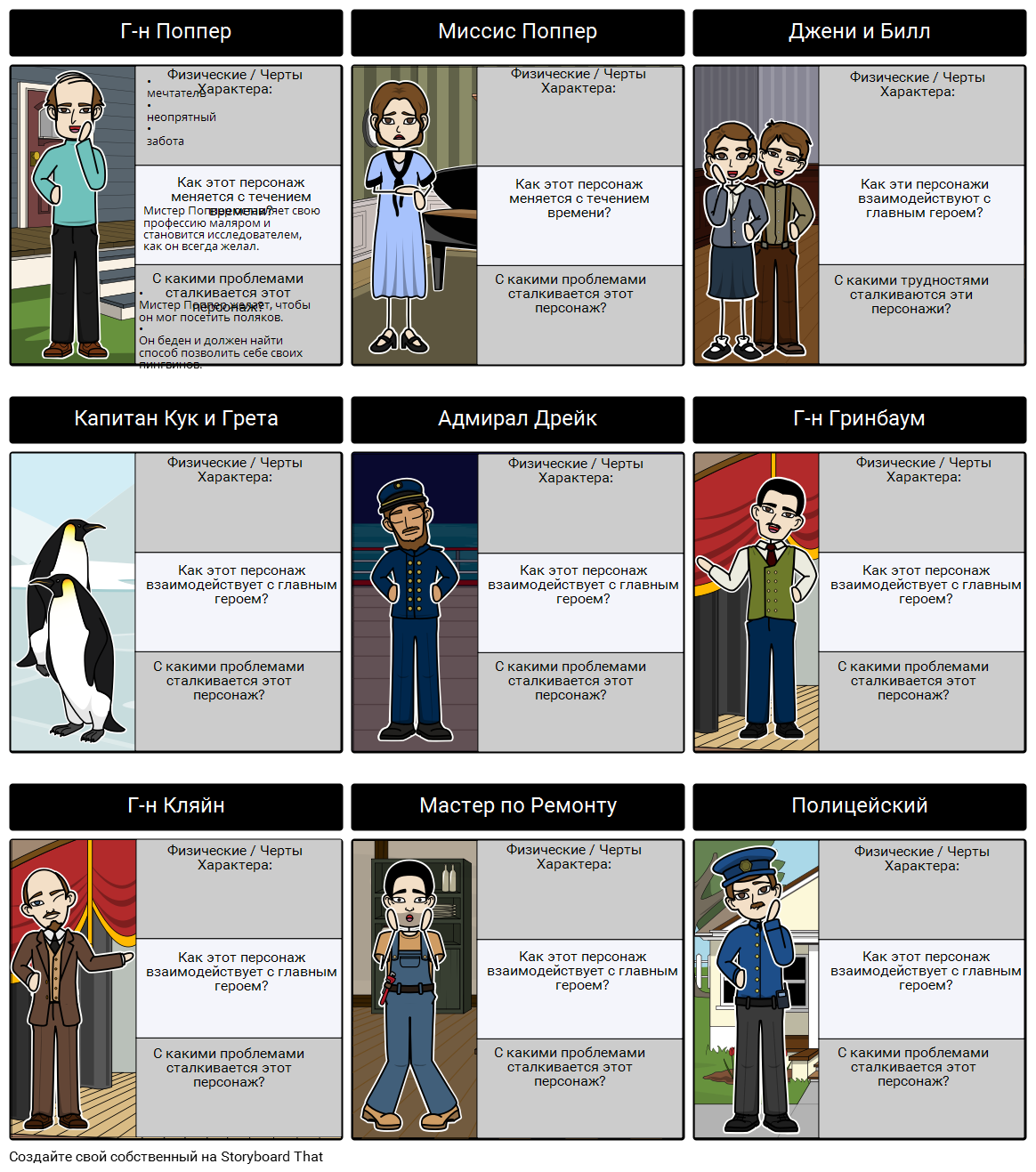 Пингвины Мистера Поппера - Character Map