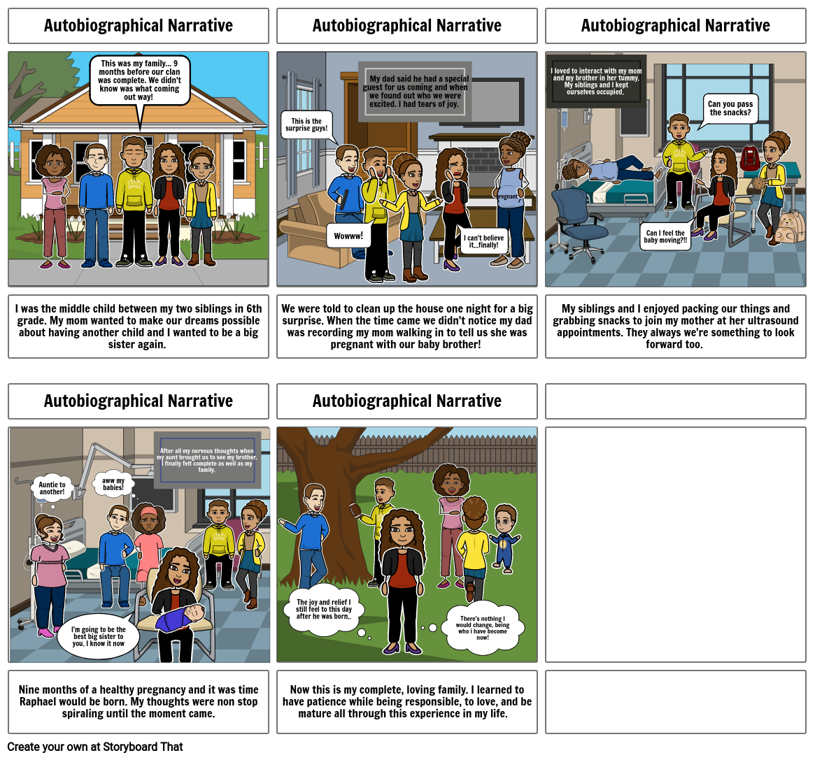 Seraphine's Autobiographical Narrative Storyboard Project