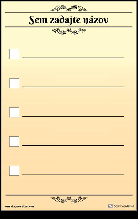 Základný 5 Kontrolný Zoznam