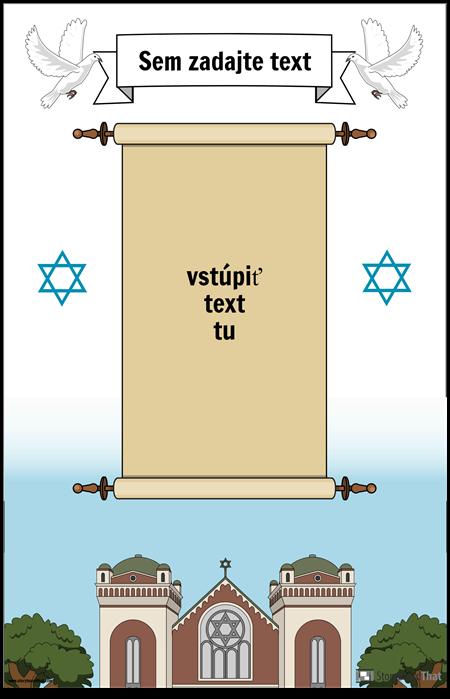 Židovský plagát so zvitkom