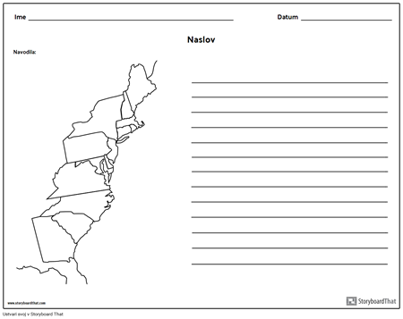 13 Colonies Map - z Linijami