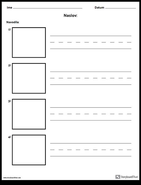 Praksa Pisanje - Daljše Besede in Okvirji za Slike