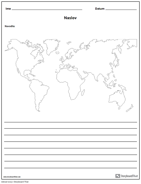 Svetovni Zemljevid - z Linijami