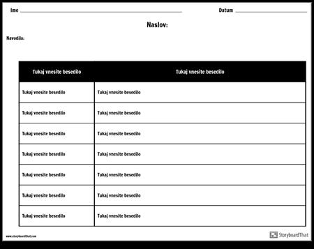 Tabela - 2 Stolpca, 7 Vrstic, Različica 2