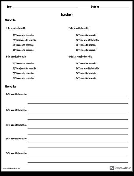 Večkratna Izbira in Kratki Odgovor / Definicije