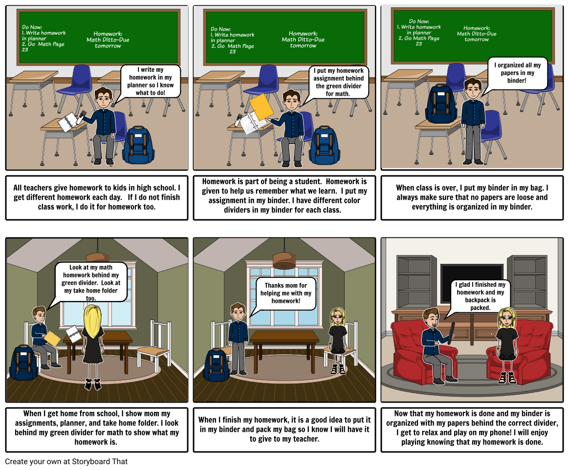 Storyboard for Organized Classroom Students