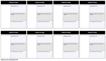 Character Map Template 3 Field Filled In