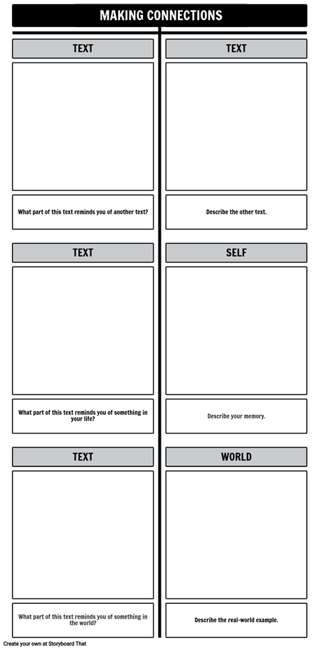 Text Connections T-Chart Template