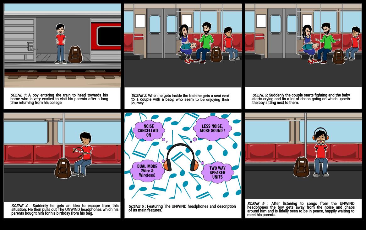 UNWIND HEADPHONES STORYBOARD