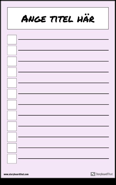 Grundläggande Checklista-affisch
