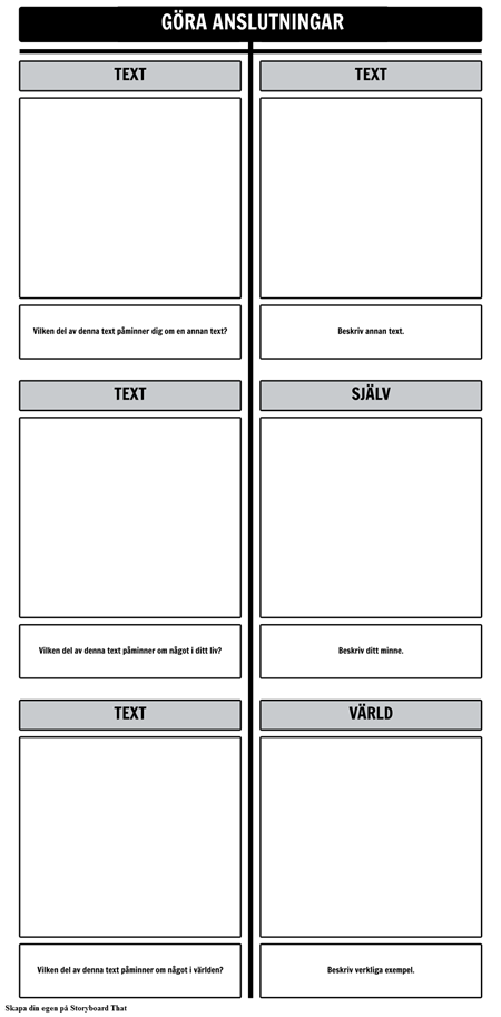Text Anslutningar T-diagram Mall